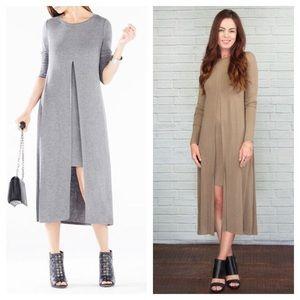 BCBG Ayana Long Sleeve Midi  Dress